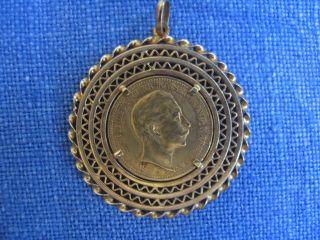 Goldmünze Deutsches Reich 1889 20 Mark Mit Filigraner Goldfassung Als Anhänger Bild