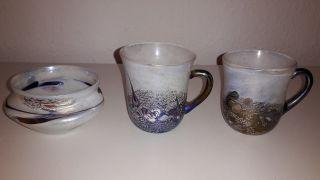 3 X Kunstglas - 2 Tassen & 1 Zuckerdose - Schöne Deko Bild