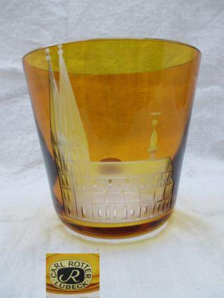 Carl Rotter Lübeck Becher Whiskyglas Lübeker Marienkirche Cognac Bernstein Bild