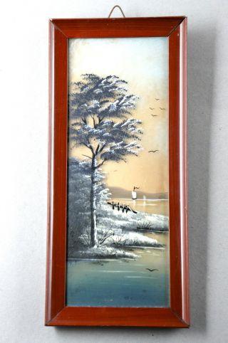 Kleines Ölgemälde,  Landschaft Aus Japan,  Auf Glas Gemalt In Holzrahmen,  12x27 Cm Bild