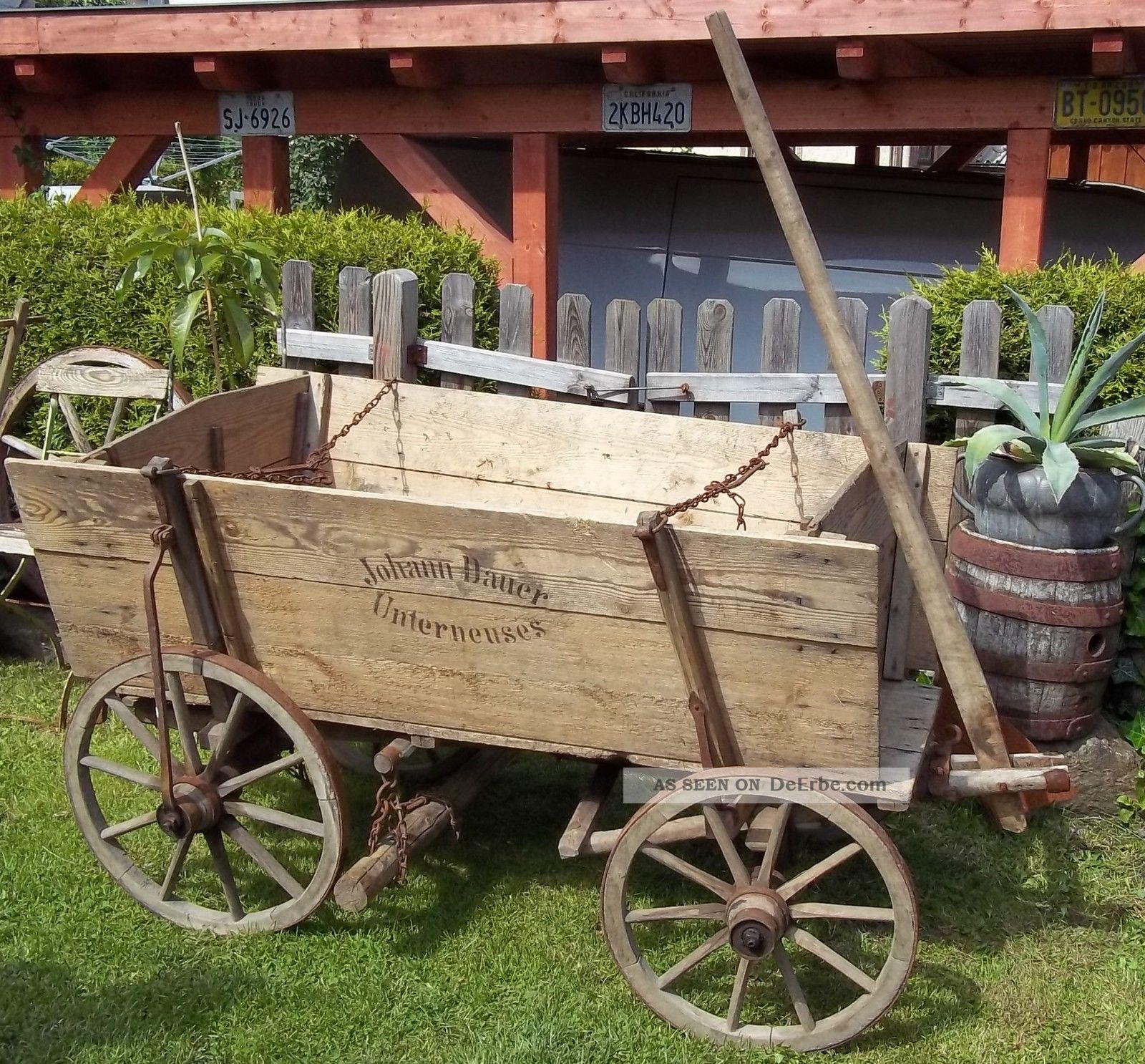Antiker Kastenwagen - Handwagen - Holz - Heuwagen - Bremsvorrichtung - Zerlegbar 190cm Bauer Bild