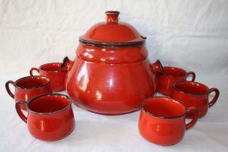 Bowleset Mit Schüssel Und 6 Bechern Rot Keramik Rumtopf 70er Jahre Bild