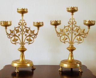 19th Century Neugotischen Antique Bronze & Messing Art Nouveau Kirche Leuchters Bild