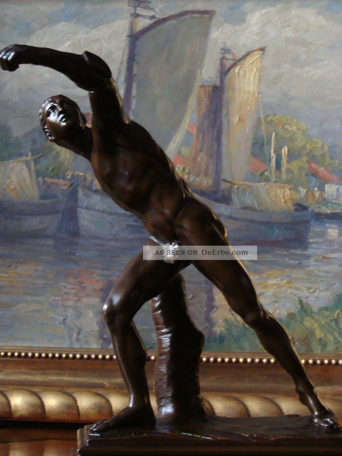Der Fechter Borghese Bronze Figur Um 1860 Athlet Gladiator Römer Krieger Kämpfer Vor 1900 Bild