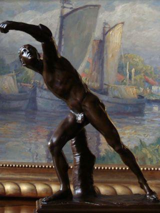 Der Fechter Borghese Bronze Figur Um 1860 Athlet Gladiator Römer Krieger Kämpfer Bild