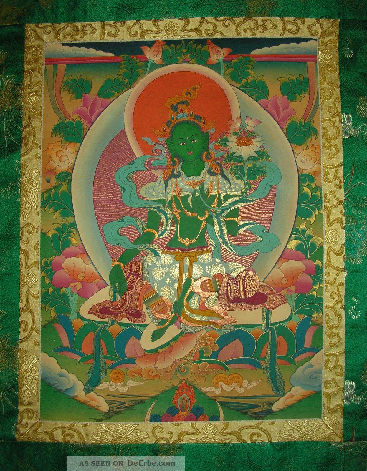 Sehr Schönes Masterpiece Thangka Aus Nepal: Grüne Tara In Brokat ...