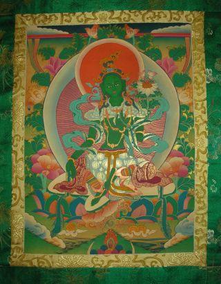 Sehr Schönes Masterpiece Thangka Aus Nepal: Grüne Tara In Brokat 99x55 Cm Bild