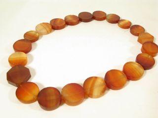 Alte Achatperlen Idar - Oberstein Antique Round Tabular Agate Trade Beads Afrozip Bild