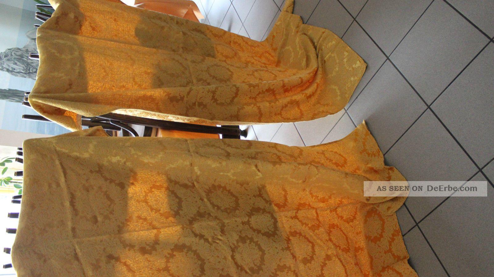 Raritat 2 Gleiche Groß Seide Brokkat Gold Gardine Tolle Muster Tischwäsche Bild
