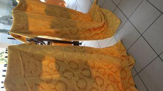 Raritat 2 Gleiche Groß Seide Brokkat Gold Gardine Tolle Muster Bild