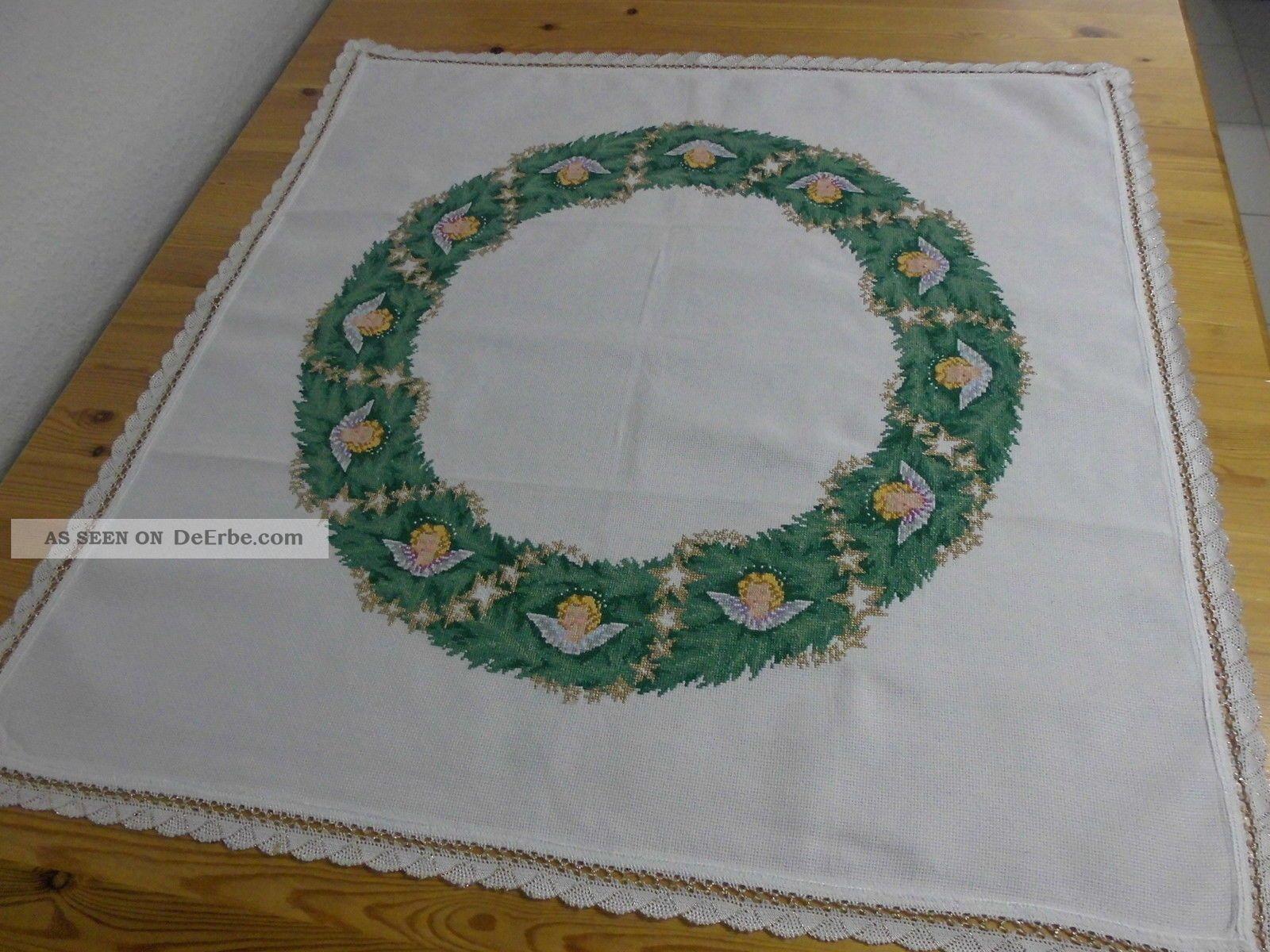 Weihnachtliche Mitteldecke,  Weiß,  Kreuzstich - Stickerei,  Handarbeit,  78 X 78 Cm Tischdecken Bild