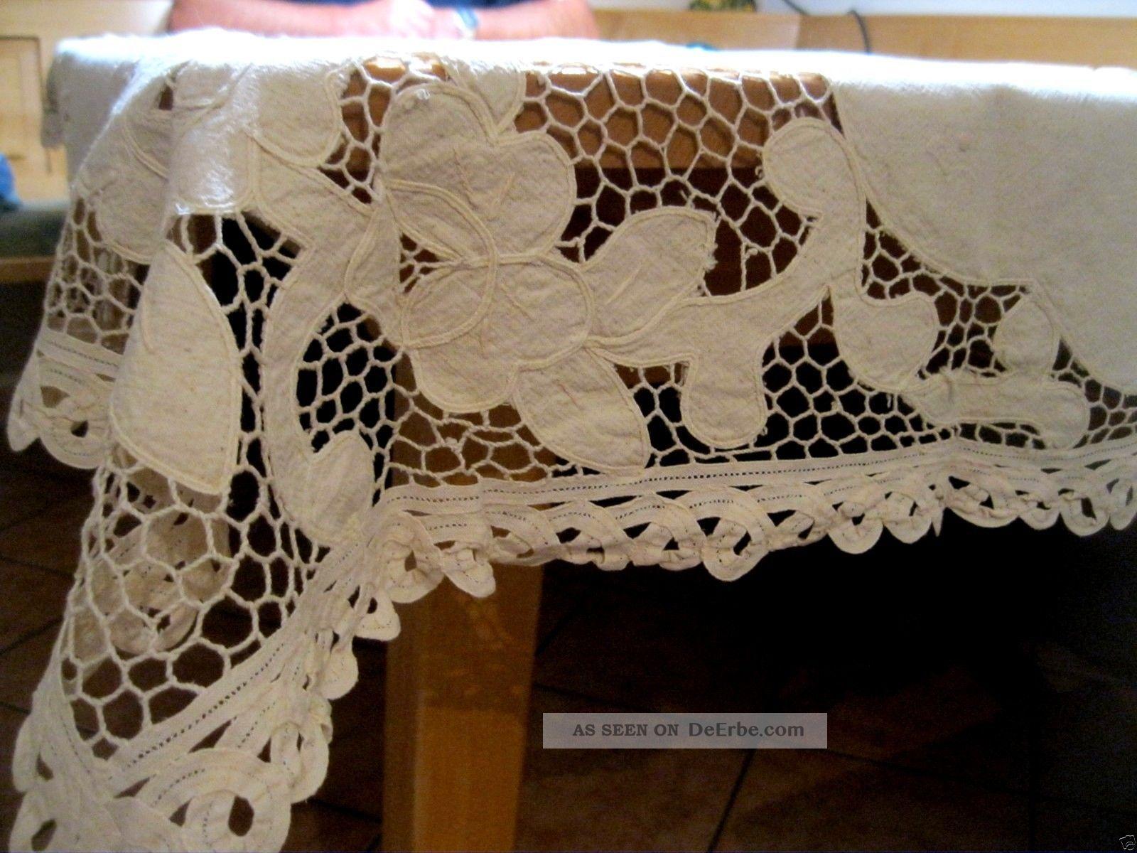 Alte Tischdecke Mit Klöppelspitze Handarbeit Ca.  122x150 Cm Beschädigt Tischdecken Bild