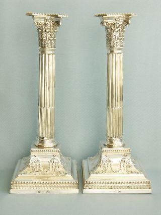 Grosses Leuchterpaar,  Sterlingsilber,  England 1897,  Sehr Massiv Bild