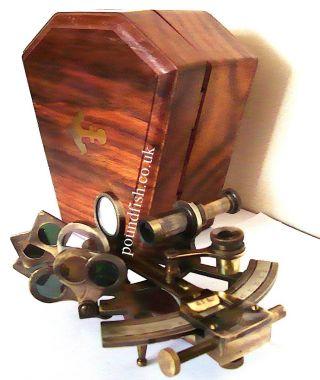 Messing Schiff Sextant Messing Meeres Sextant Kelvin & Hughes London 1917 Box Bild