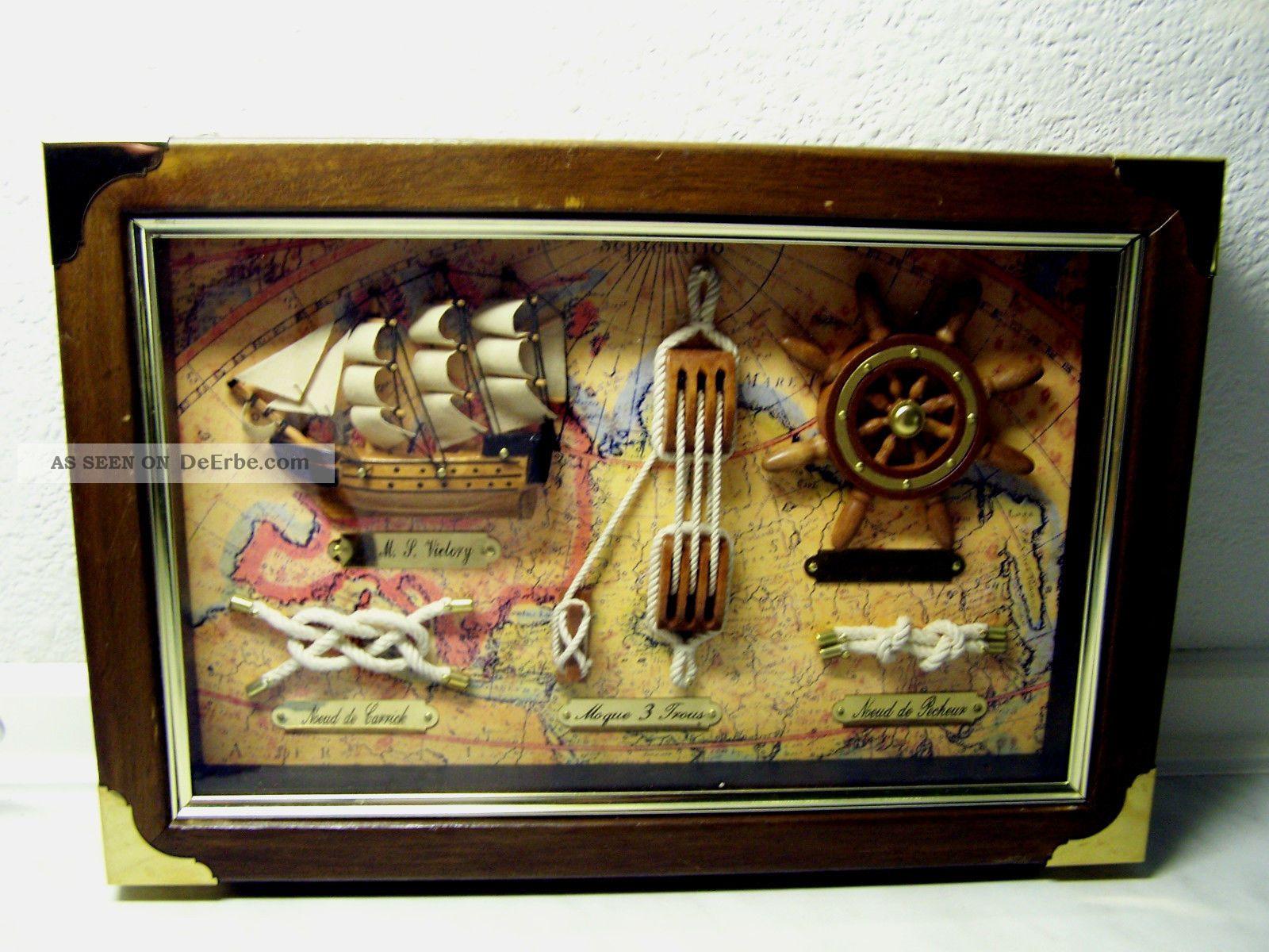 Maritime Knotentafel Holzrahmen Hinter Glas Mit Segelschiff H.  M.  S.  Victoriy Maritime Dekoration Bild