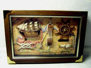 Maritime Knotentafel Holzrahmen Hinter Glas Mit Segelschiff H.  M.  S.  Victoriy Bild