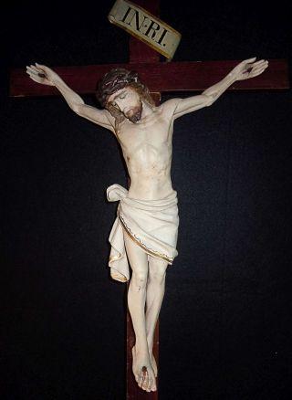 Großes Kruzifix Geschnitzte Holzfigur Oberstaufen Um 1880 Bild