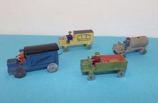 4 Autos Mit Fahrer,  Miniatur,  Erzgebirge Alt Holz Bild
