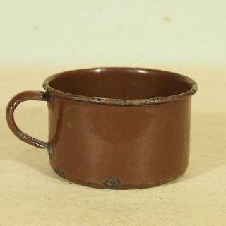 Alter Emaille Milchtopf - Emaille Tasse - Dunkelbraun - Shabby Chic - H6cm D10cm Bild