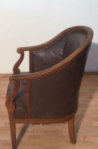 Ein Wunderschönes Sehr Alt Antiker Leder Sessel Stuhl Bild