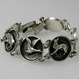 Altes Silber Armband Mit Jagdmotiven Bas Blachian - Jäger Charivari - S5476 Bild