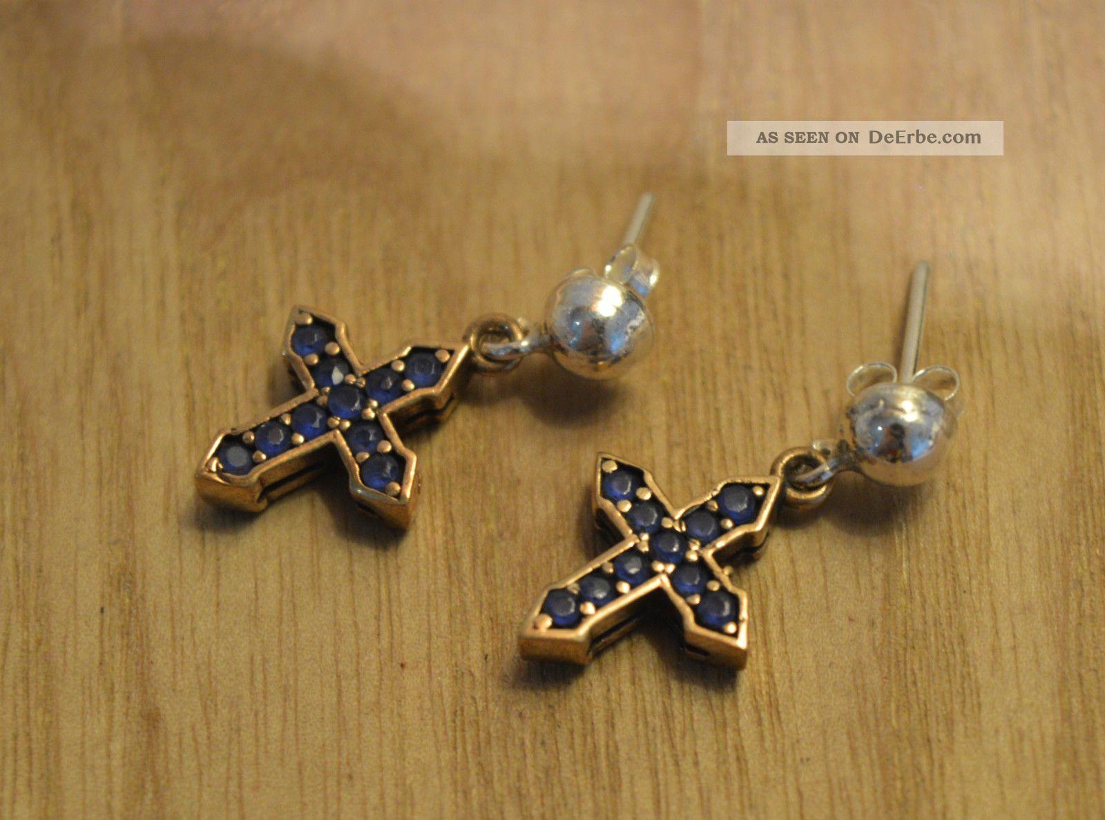 Antik Ohrringe Ohrhänger Echt Silber Handarbeit 925 Mit Gold Earrings. Schmuck nach Epochen Bild