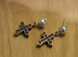 Antik Ohrringe Ohrhänger Echt Silber Handarbeit 925 Mit Gold Earrings. Bild