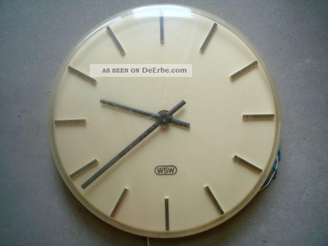 Alte Wsw Uhr Wanduhr Nebenuhr Bahnhofsuhr Bürouhr Elektrisch Industrial Stil 1960-1969 Bild