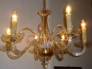 Sechsarmige Glaslampe,  Kronleuchter,  Chandelier,  Deckenlampe Um 1940 - 50 Bild