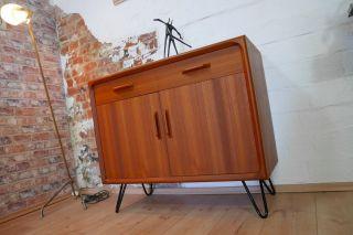 Teak Sideboard Kommode Schrank 60er - 70er Jahre Mit Hairpin Legs Danish Design Bild