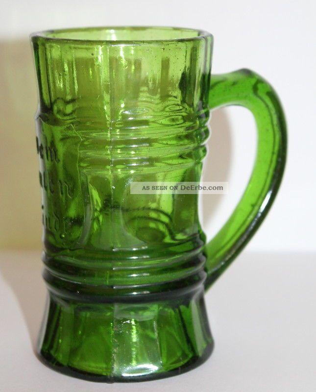 Alter Kleiner Glas Humpen / Becher - Dem Guten Kinde - Grün - Jugendstil Um 1900 Sammlerglas Bild