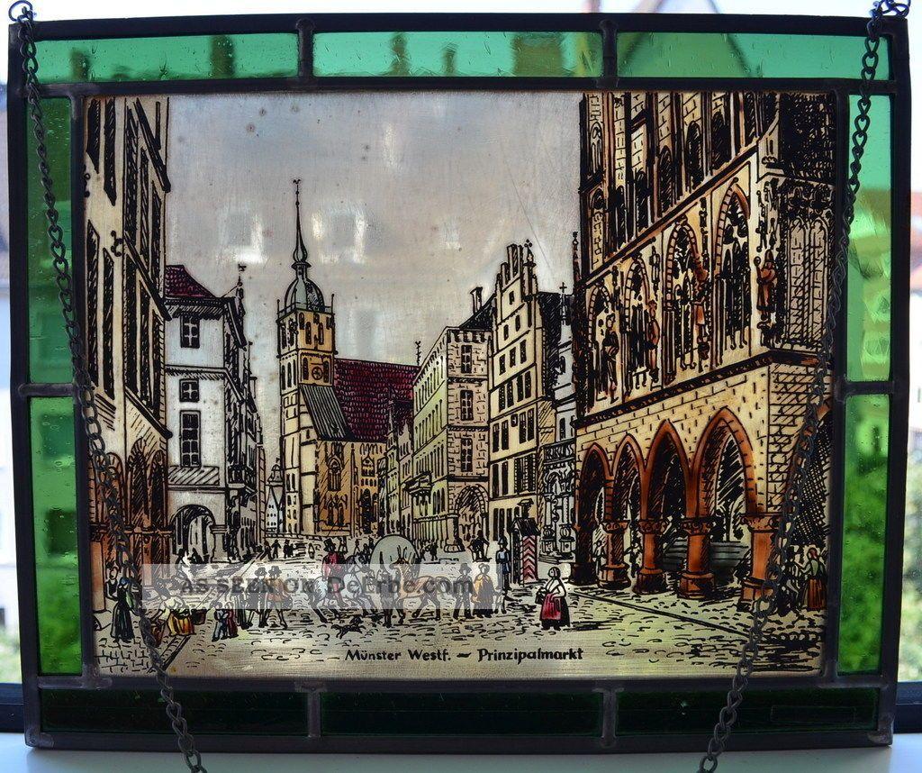 Bernhardt Fensterbild Münster Glasmalerei Bleiverglasung Handbemalt 27x22,  5cm Glas & Kristall Bild