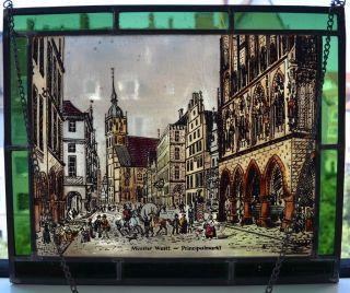 Bernhardt Fensterbild Münster Glasmalerei Bleiverglasung Handbemalt 27x22,  5cm Bild