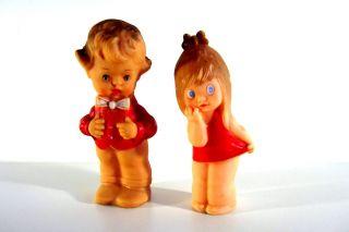 Sehr Alte Schildkröt Puppen 60er Gummi Bübchen Mit Fliege Mädchen Im Kleid Bild