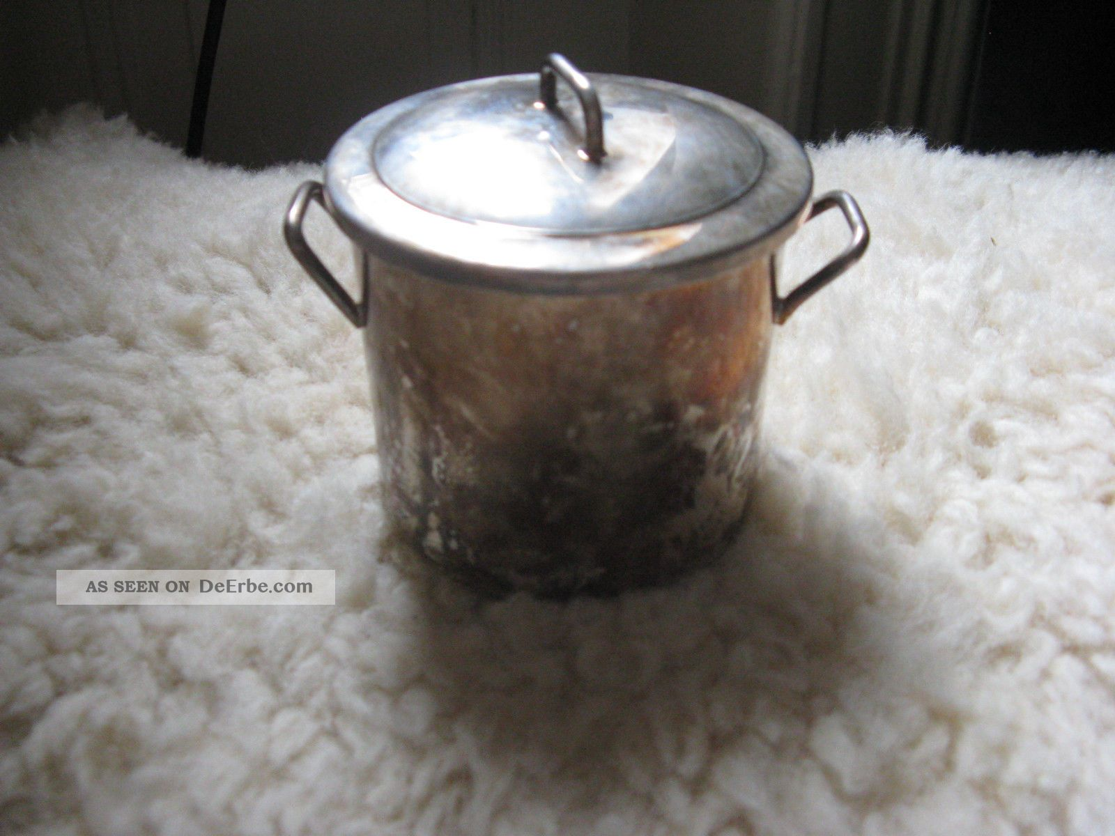Versilberte Oder Silber Töpfchen Mit Einsatzschälchen - Orfevrerie France Objekte vor 1945 Bild