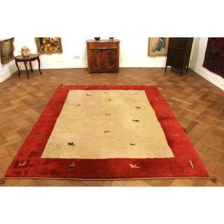 Schöner Handgeknüpfter Orient Teppich Gabbeh Tiermotive Carpet Tappeto 250x200cm Bild