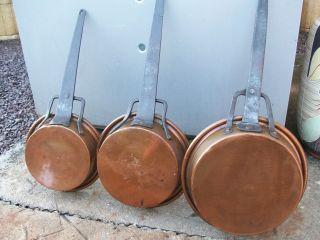 3 Alte,  Kupferpfanne / Kupfer Kasserollen Aus Frankreich Bild