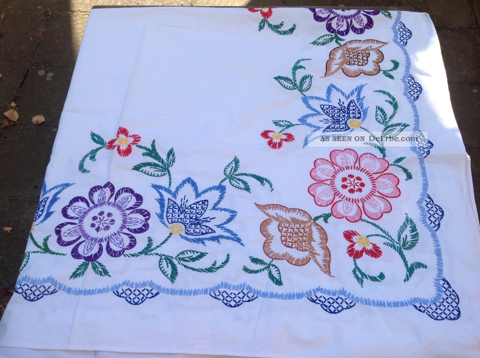 Schöne Tischdecke Handarbeit Farbig Bestickt Tischdecken Bild