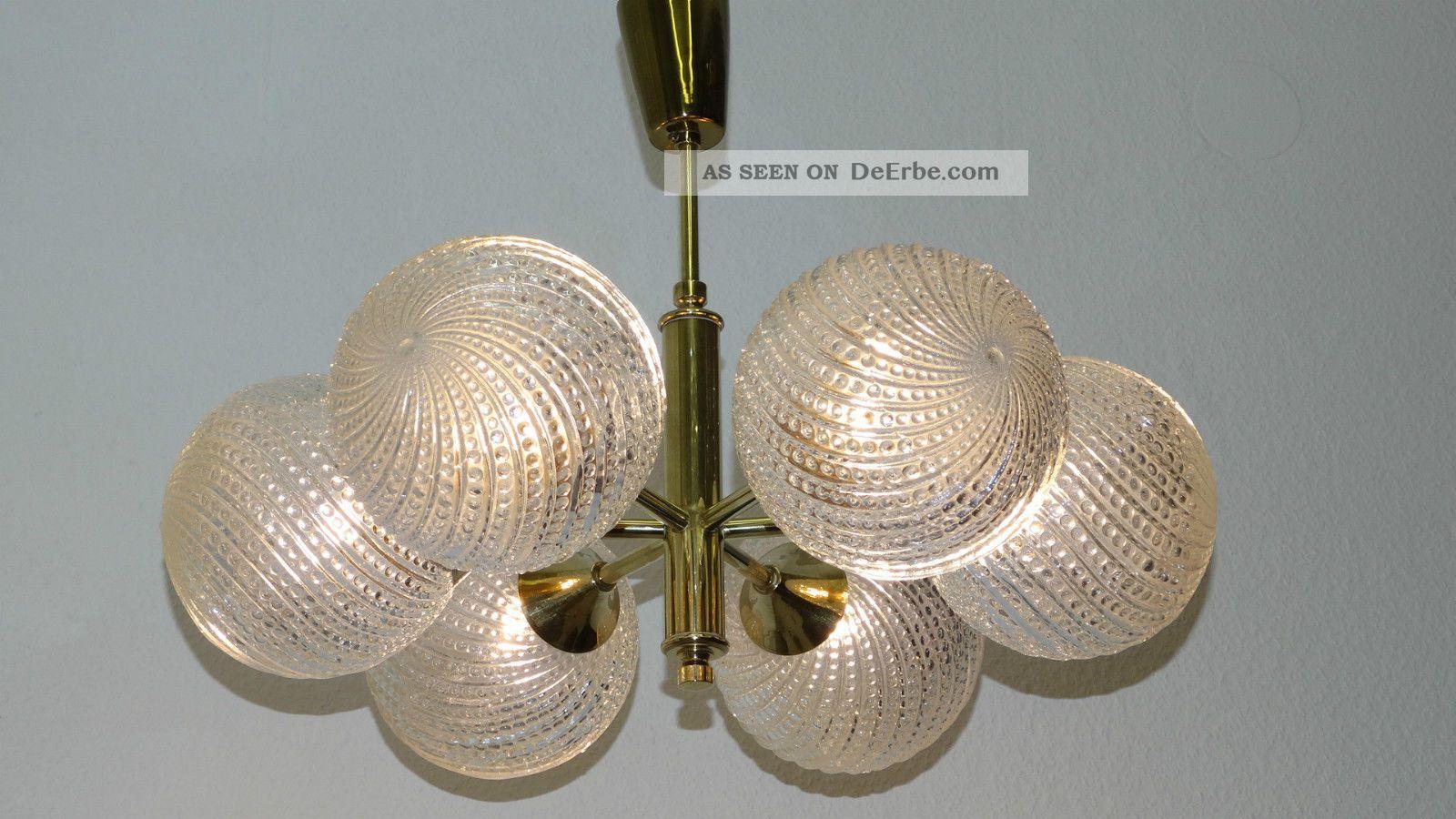 Messing Glaskugel Deckenleuchte Lampe Kugel Ufo Leuchte Deckenlampe Leuchte Aa46 1960-1969 Bild