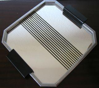 Art Deco Bauhaus Spiegel Tablett Frankreich Chrom Bild