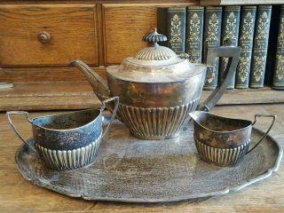 Art Deco Tafelsilber Mappin & Webb ' S Kaffeekanne Milch Zucker Dose Tablett Bild