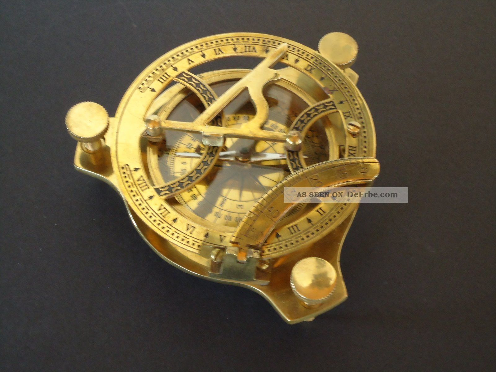 Peil - Tisch - Kompass Mit Sonnenuhr,  Messing / Seefahrt Technik & Instrumente Bild