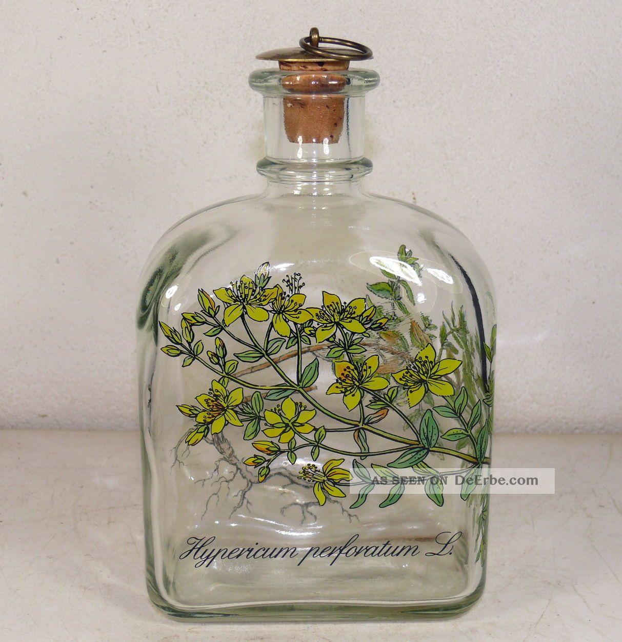 Holmegaard M.  Bang - Likörflasche Hypericum Perforatum L.  /echtes Johanniskraut Sammlerglas Bild