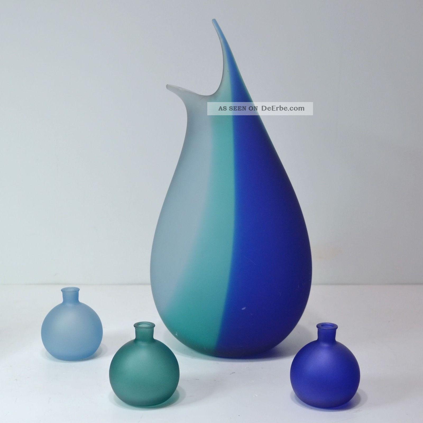 Große Vase 38 Cm,  3 Kleine Kugelvasen Glas Elegant Künstlerisch Sammlerglas Bild