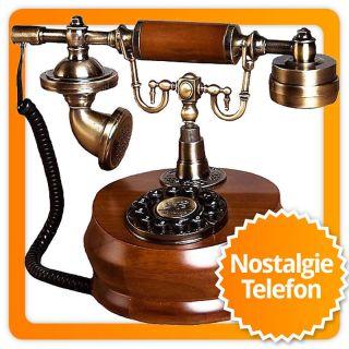 Antikes Designer Telefon Nostalgie Mit Messing Und Holz Bild