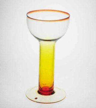 Großer Kelch Pokal Bechervase Windlicht Gelb - Orange,  Design Italien Um 1970 Bild
