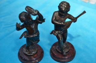 Alte Auguste Moreau Bronzefiguren Pärchen Musizierende Kinder Bild