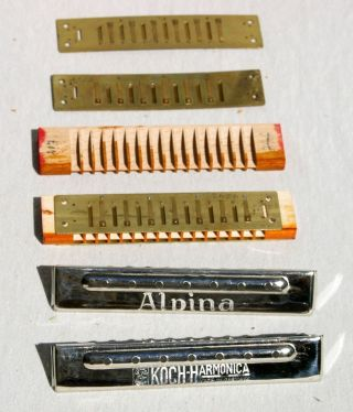 Antike Wiener Tremolo Mundharmonika Koch 713 Alpina Etwa 1925 Muster Ungespielt Bild