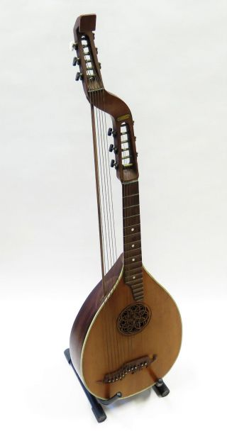 Antike 12 Saitige Bass - Laute Mit Ornament Bild