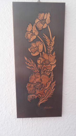Kupferbild Auf Holz Mit Blumenmotiv,  Handarbeit Von Fritschler (19.  04.  1978) Bild